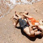 Natural beach couple photo