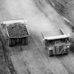 Mining trucks from drone