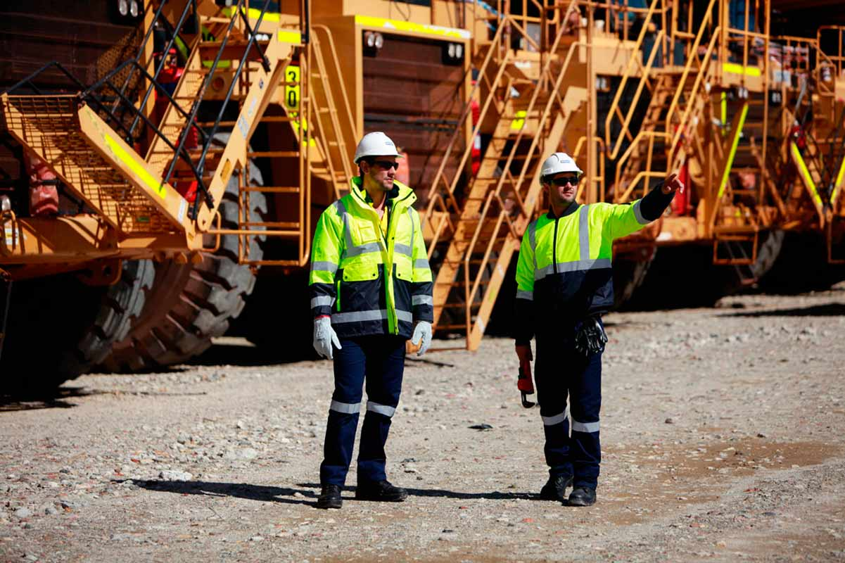 miners with trucks