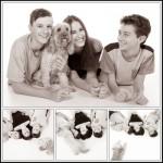 three kids and a dog photo