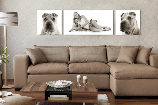 Triptic of canvas photos